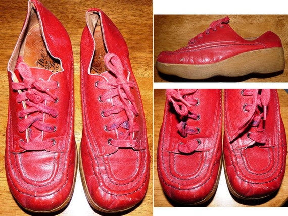 SALE   vintage   red Famolares shoes wedges platform moccasin Get There shoes  Size 7