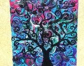 Abstract Tree swirled unique Hot pink green purple blue 8x10 small painting