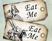 Alice Wonderland eat me tags. Gift Hang Tag Whimsical printable handmade drink me cheshire cat  labels stickers. Digital Collage Sheet k2121