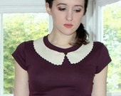 "The ""Peggy"" top -  Fashion Aubergine T shirt with Ultrasuede Peter Pan Collar"