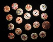 Lot of Wooden Buttons - Set of 18 Wood Buttons - Flowers Hearts Swirls