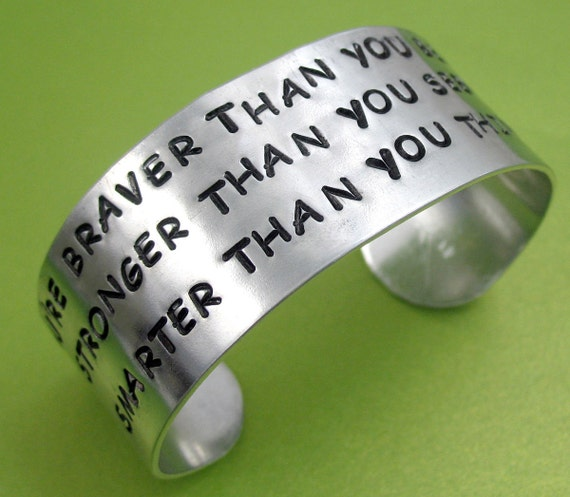 You're Braver Than You Believe... Winnie the Pooh Inspired Wide Hand Stamped Bracelet -