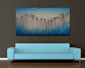 """Large Abstract Painting ORIGINAL Oil Art Modern Contemporary Landscape. Ready to Hang. Wall Decor - 24""""x48"""". Seascape"""
