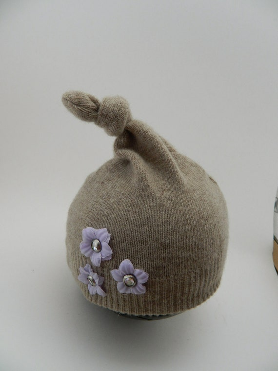 Newborn top knot Upcycled Photo Prop Hat - Cashmere with Lavender flowers