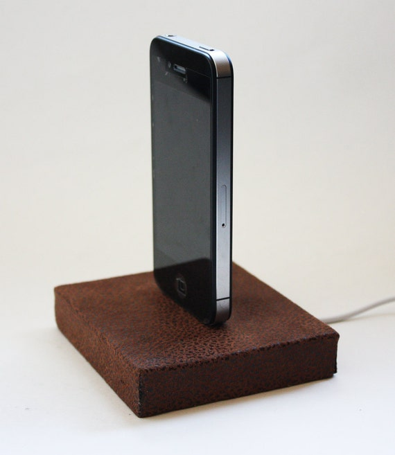 Wooden Faux-Leather Apple iPhone Charging Dock, Space Saving, Small