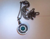 Trendy Roller Derby Bearing Necklace Blue-Green bead with chain