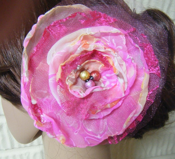 Shabby Chic Hot Pink Handmade Wedding Hair Flower Clip Prom Fascinator