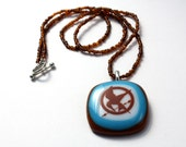 Hunger Games Jewelry - Glass Pendant with Tortoise Shell Necklace