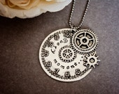 "Hand Stamped ""Every moment..."" clock necklace personalized, custom made Tibetan silver pendant"