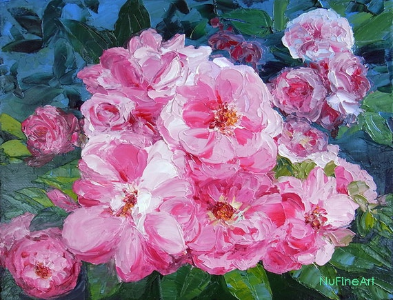 """Original Rose Flower Textured Palette Knife Small Oil  Painting 8 x 10"""" Canvas, PINK BLOOSOMS, Rose Painting by NuFineArt"""