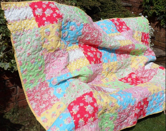 Fresh and bright patchwork quilt