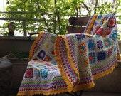 crochet blanket granny square - colourful