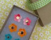 Crochet Flower Earrings - Holiday Gift Set - Sweet Petite, Ready to ship