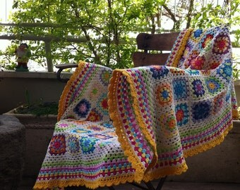 crochet blanket granny square - colourful