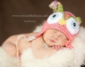 Pink Owl Hat Photography Photo Prop