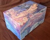 "FREE SHIPPING - Hand Painted Box -  Wooden Box - Jewelery Box - Tarot Box ""Midsummer Eve"""