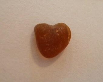 Sea glass heart brown glass