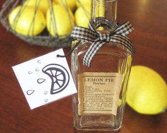 Vintage Bottle - Lemon Extract Bottle - Lemon Pie Recipe - Vintage Recipe