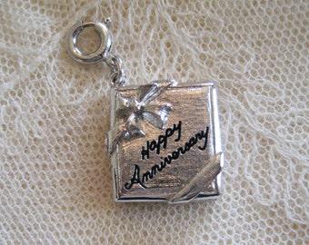 Happy Anniversary Sterling Charm  - Vintage Sterling Anniversary Charm Bracelet Charm