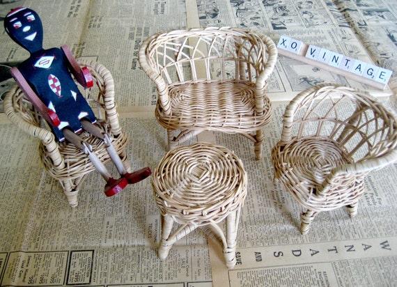 Vintage Wicker Doll Furniture
