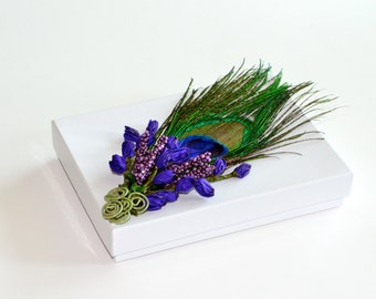 Gift Box, Peacock Feather, Lavender Flowers, Jewelry Gift Box, Wedding Gift Box
