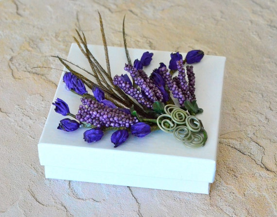 Lavender Peacock Feather Jewelry Gift Box Wedding