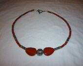 Coral & Silver Choker Necklace