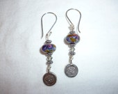 Om Earrings with Handmade Lampwork and Swarovski Beads