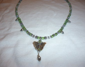 Sparkly Green Butterfly Choker Necklace