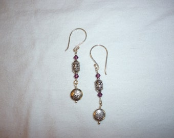 Purple and Silver Dangly Earrings