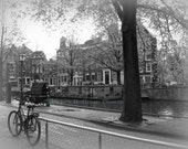 Fine Art Photography, 8 x 10 Print - Bicycle along a canal in Amsterdam, Holland
