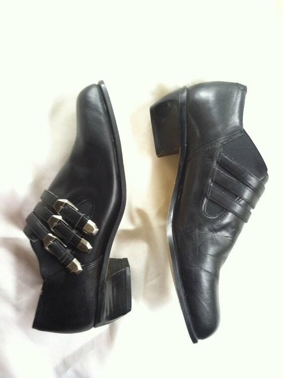 vintage Jasmine BIKER BOOTIE Black Strappy Leather Slip On Ankle Boots 7M