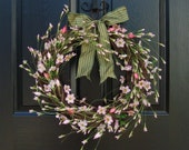 Exquisite Blossom Wreath, Cherry Blossom, Rose Buds, Spring Wreath