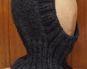 Balaclava/hat/beanie pure Australian wool handknitted dark gray