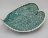 Teal Ceramic Leaf Fruit Bowl, Wedding Gift, Dining Room Decor, Table Centrepiece