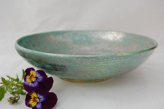 Medium Ceramic green gold bronze shallow bowl, green lustre fruit bowl, green lustre salad bowl, shallow green dish