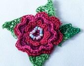 Crocheted Irish Rose Brooch in three shades of red (custom order for Jennifer)