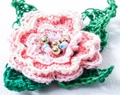 Irish Crocheted Rose Brooch Pin in three shades of pink (custom order for Jennifer)