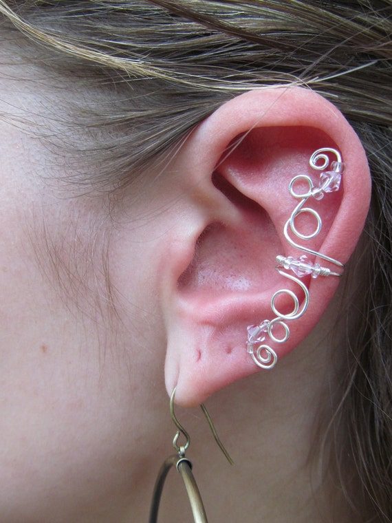 Pink Beaded Silver Wire Curly-Q Ear Cuff