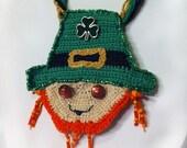 Crochet Leprechaun Statement Necklace: Holiday, pretty, beads, buttons, dangle