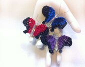 Hand Crochet Dark Color Butterfly Magnet Set: Fridgie, cute, insect