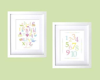 Baby Girl Nursery Decor, Personalzied Baby Nursery Art, Animal Aplhabet & Numbers Posters, 2 pc Set of Nursery Art Prints, Pastel Nursery