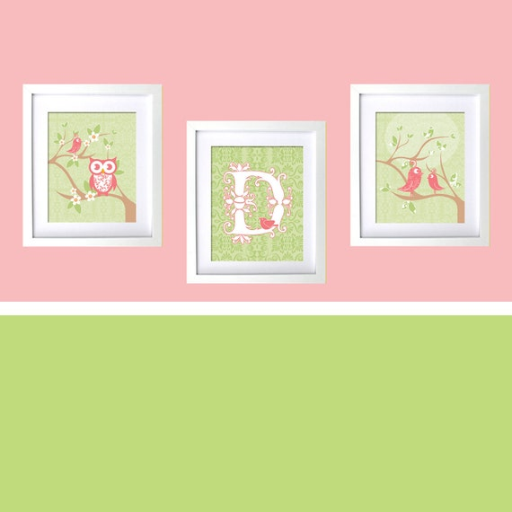 Bird Theme Baby Girl Nursery Decor Pink and Green Girls Room Personalized Baby Shower Gift Owl tweet birds series on damask Peach Pink Lime