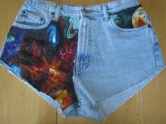 High waisted galaxy shorts