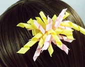 Korker Hair Bow Pink and yellow curly pom pom hair bow