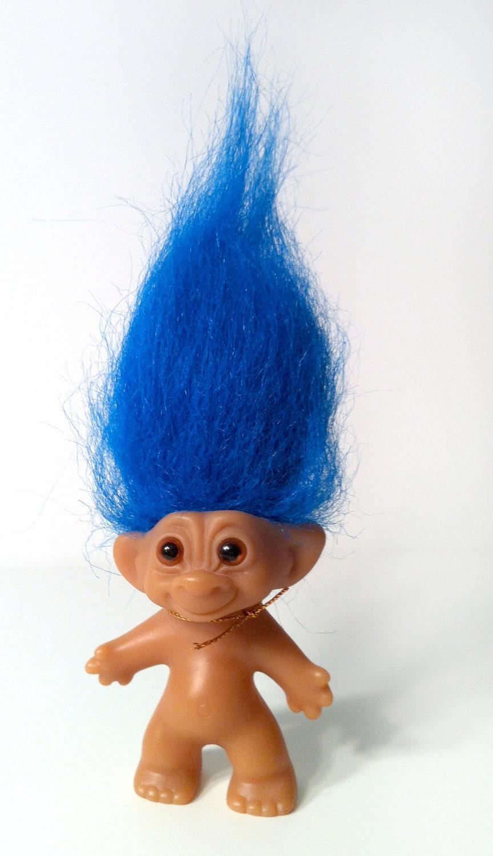 Uneeda Wishnik Troll Doll Blue Hair