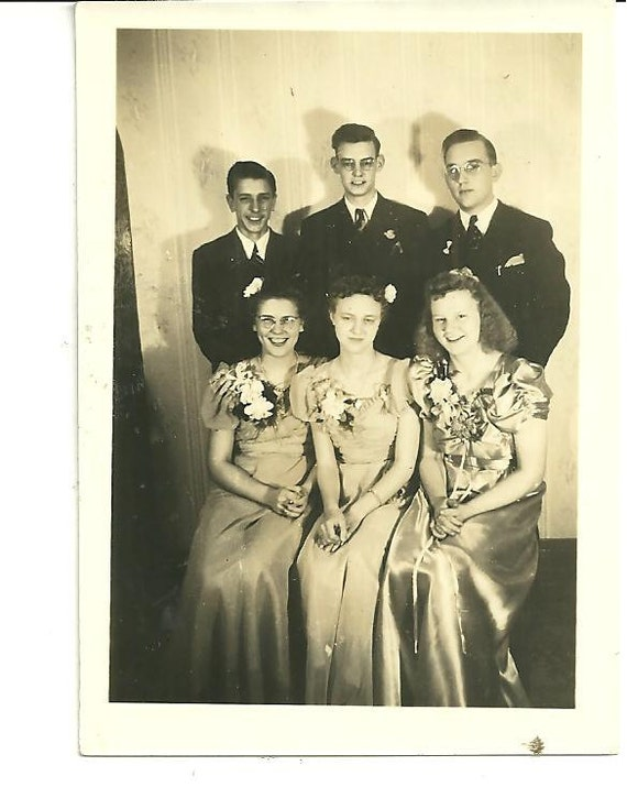 Prom Time 1940 Photography, Collectible, Snapshot Picture, Black and White Photo Lets Dance