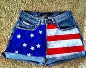 American Flag Patriotic High waisted shorts hand painted custom calvin klein