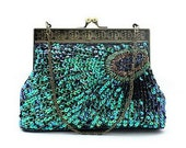 Green Peacock Feather Sparkle Wedding Purse Evening Clutch