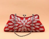 Sparkle leaves Red Beaded Wedding Purse Evening Clutch